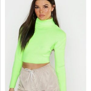Neon knitted crop top